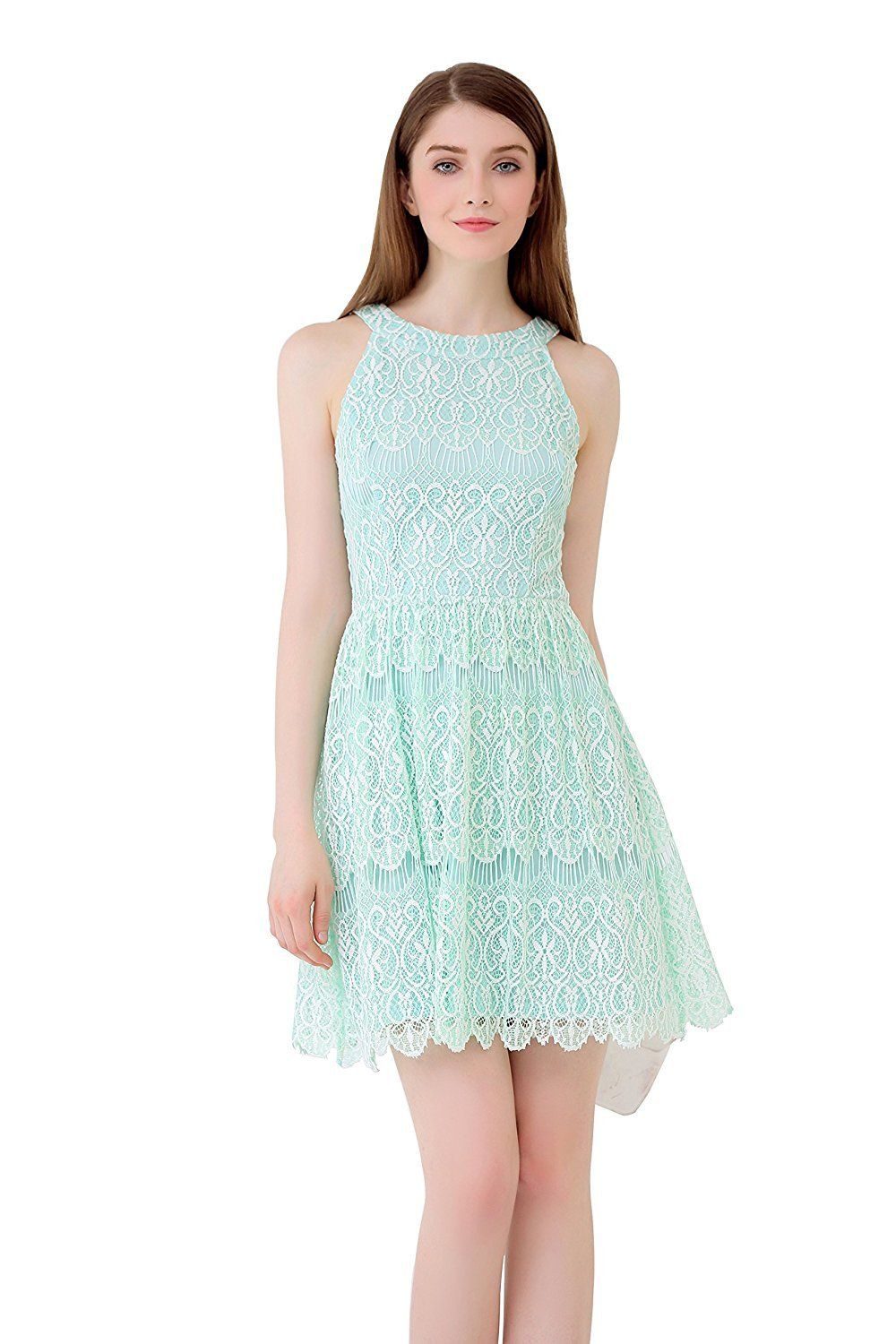 Up Ultrapink Junior Womens Allover Lace Halter Dress Mesh