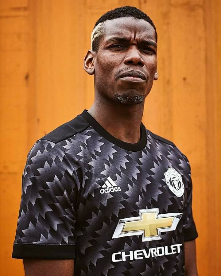 405bfa04a96 Paul Pogba with the new away kit of 2017 18 Manchester United season ...