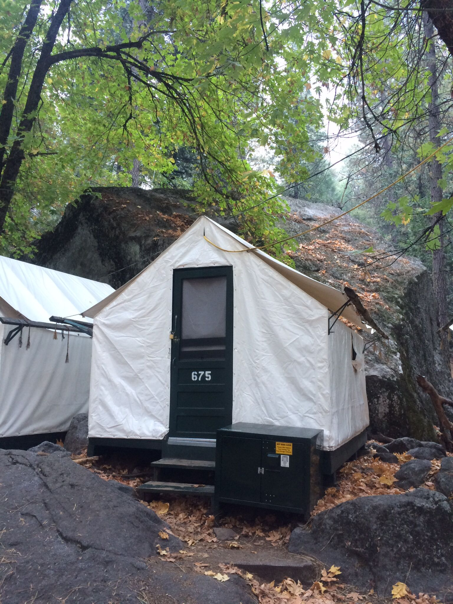 Curry Village tent with big bolder. Yosemite National Park. October 2014 & Curry Village tent with big bolder. Yosemite National Park ...