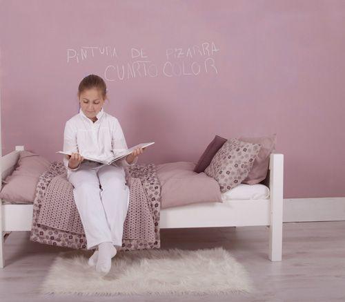 Pintura de pizarra color rosa almendra www.cuartocolor.es #infantil ...