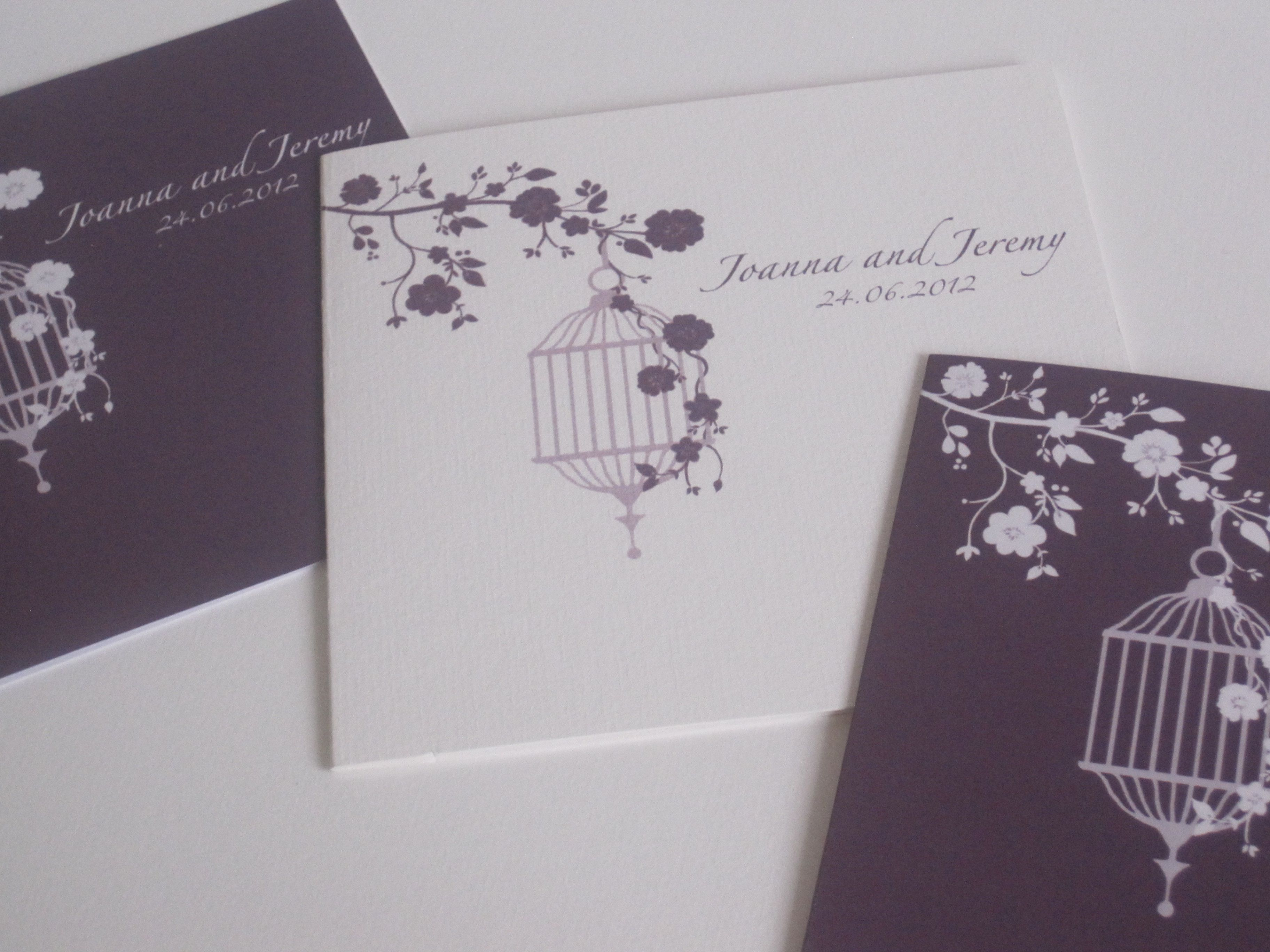 Purple birdcage wedding invitations by The Pattern Boutique at