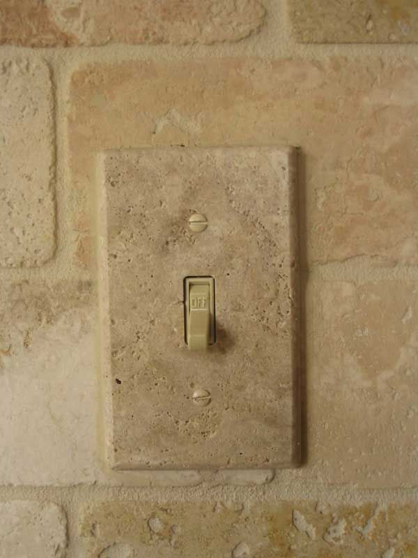 Installed Travertine Marble Light Switch Cover Plate