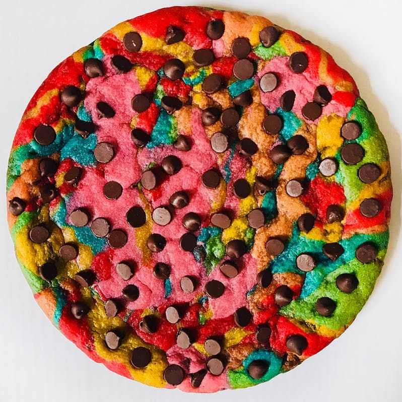 Rainbow Chocolate Chip Cookie Cake Savoury cake, Rainbow