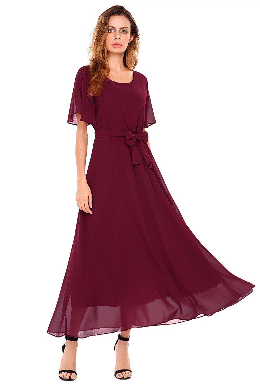 3024a055c6bd ACEVOG Women Casual Short Flutter Sleeve O Neck Flare Flowy Chiffon Long  Formal Maxi Dress at