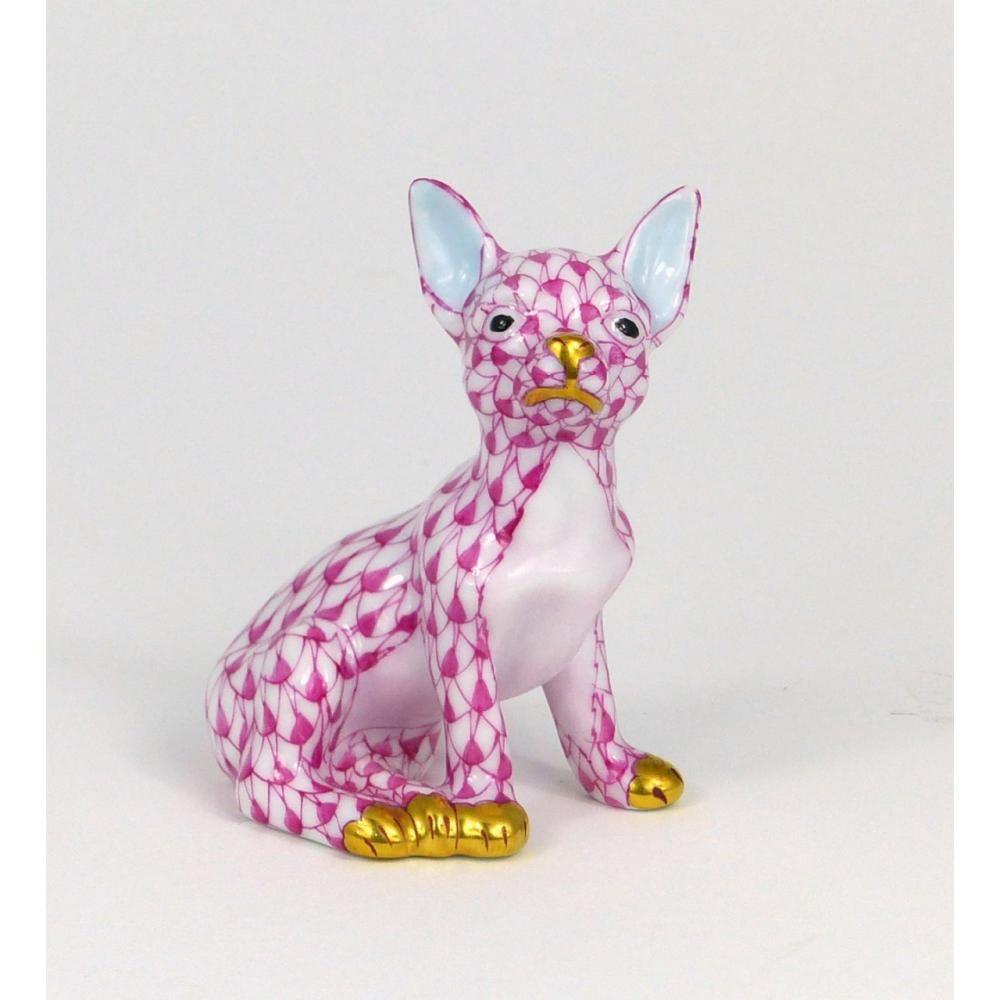 Herend Kangaroo Hand Painted Porcelain Figurine In Pink: HEREND CHIHUAHUA PINK FISHNET PORCELAIN FIGURINE