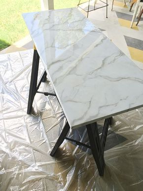 DIY Faux Marble (Little Green Notebook) | Pinterest | Resin, Countertops  And Kitchens