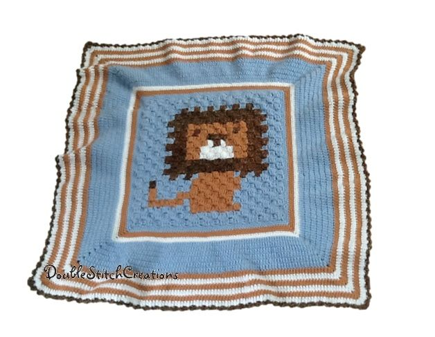 Lovely lion blanket for a baby.  Would make a great gift for a baby shower.  #crochet #lion #blanket #baby #gift #babyshower