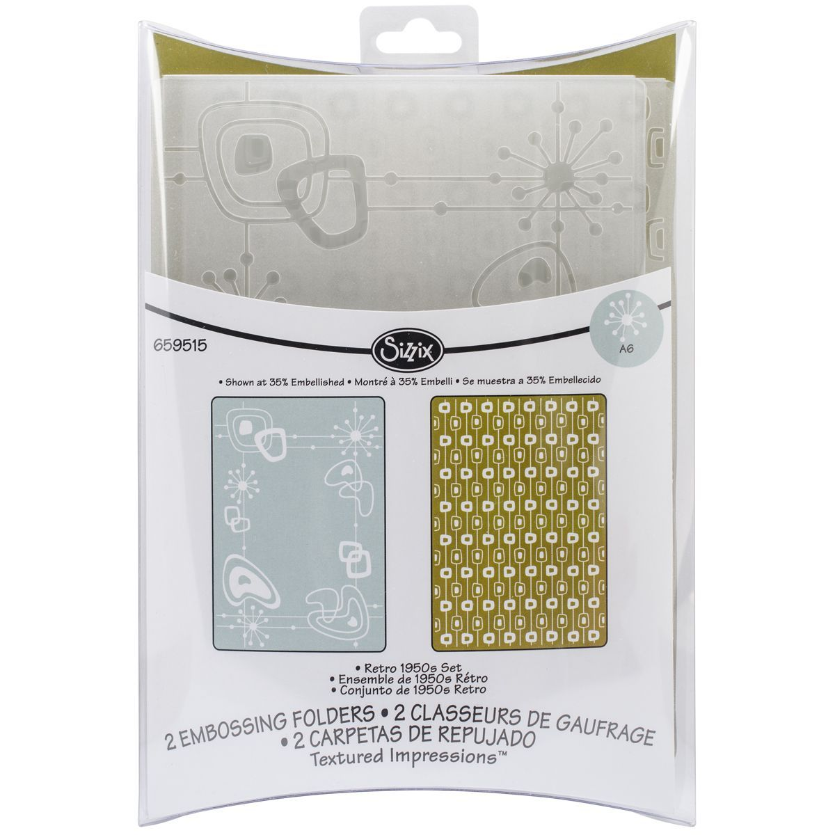 Sizzix Textured Impressions A6 Embossing Folders 2/PkgRetro 1950s