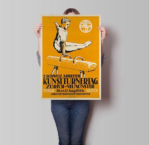 Gymnastics Poster  Zurich Poster  Sports Decor  Poster Art  Vintage ...