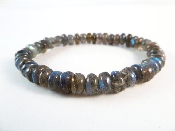 Love the blue flash in these stones! Labradorite Stretch Bracelet Natural Smooth by SandiLaneFineArt, $22.00