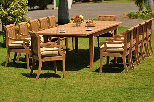 TeakStation 12 Seater 13 Pc GradeA Teak Wood Dining Set Large Atnas