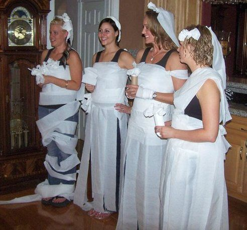 ive done this at two bridal showers always a hit and lots of fun a good icebreaker make teams to dress up each bridesmaid and have bride vote