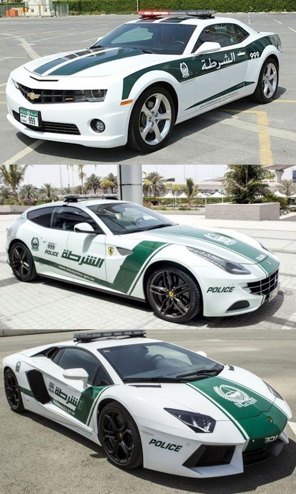 Dubai Police cars Ferrari FF, Aventador and