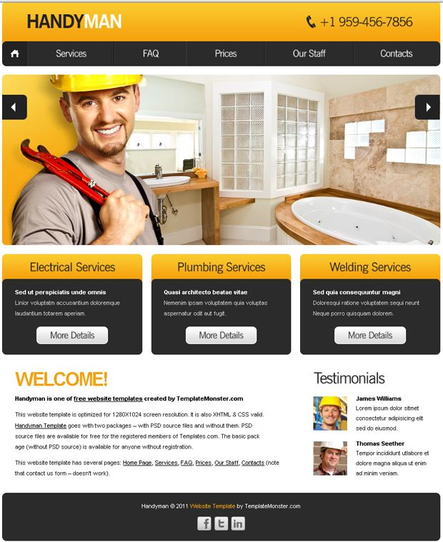 free website template with slideshow for maintenance business