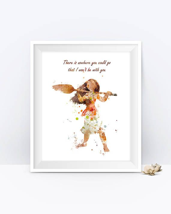 Princess Moana Art Print Quote Watercolor Party