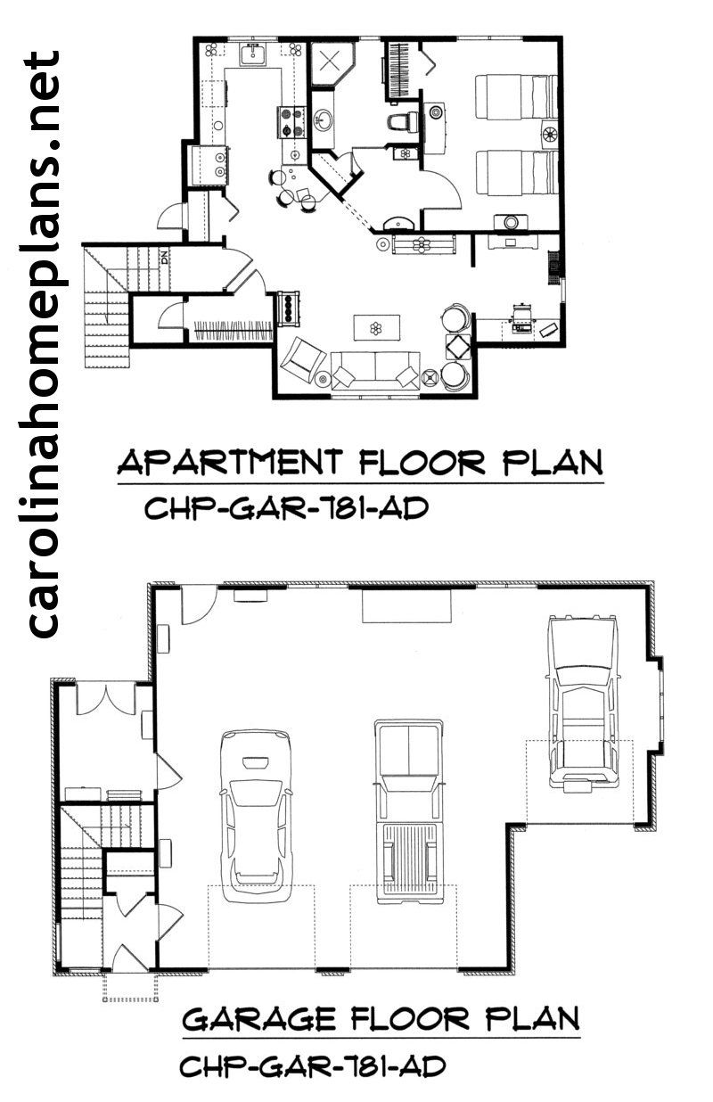 3 car garage apartment plan lots of storage and workshop space also available in 2 car version