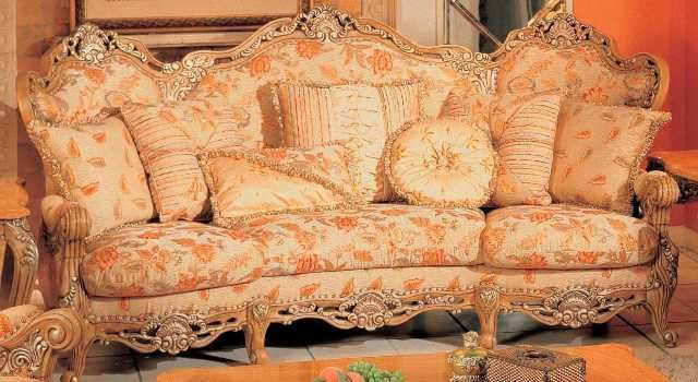 Swell Traditional Peach Floral Print Sofa With Ornate Wood Carved Gmtry Best Dining Table And Chair Ideas Images Gmtryco