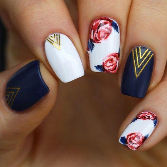 rose. navy blue. golden yellow