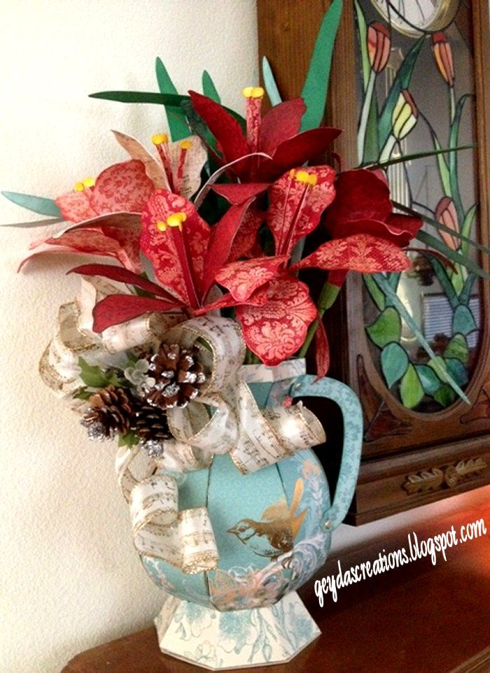 Geyda's Craft Creations: 3D Amaryllis Flowers And Pitcher