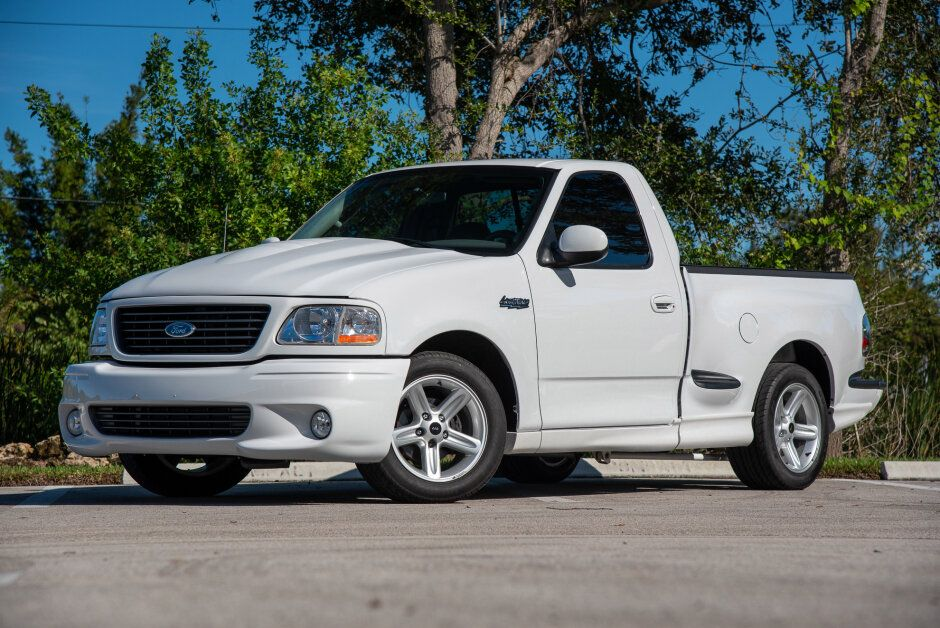 For Sale 2003 Ford F 150 Svt Lightning Modified Oxford White Supercharged 5 4l V8 4 Speed Auto 16k Miles Stangbangers Svt Lightning Ford Svt Ford F150