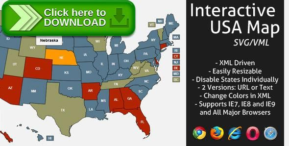 Free nulled Interactive SVG USA Map download