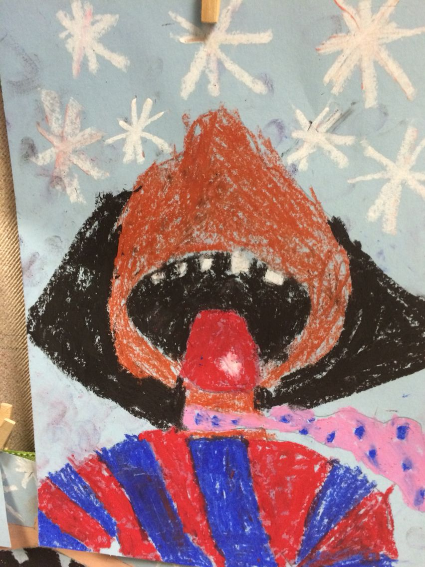 Beautiful oil pastel self-portrait of student catching a snowflake on their tongue!