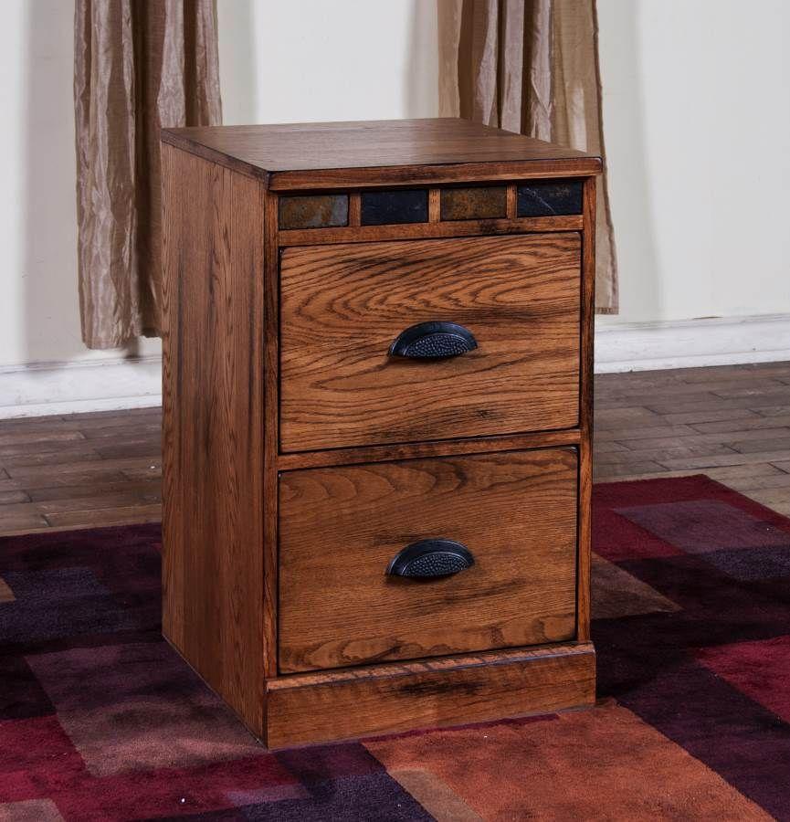 Sedona Rustic Oak Wood 2 Drawers File Cabinet 2863ro F Filing