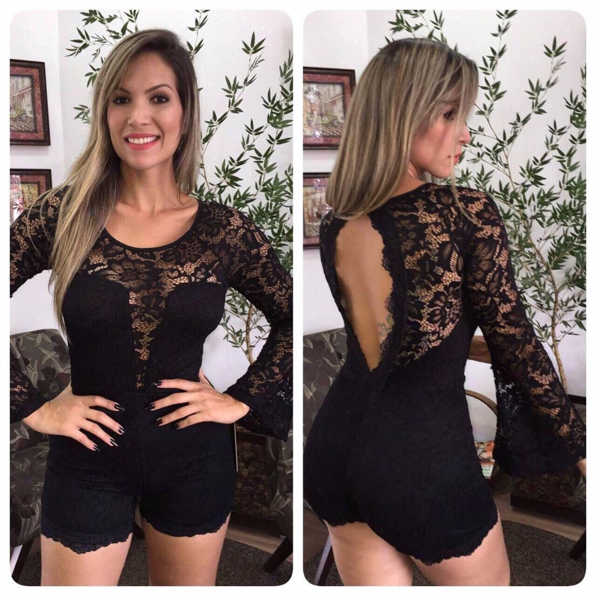 b5159ceb6 Macaquinho Todo Em Renda Com Bojo - R  169