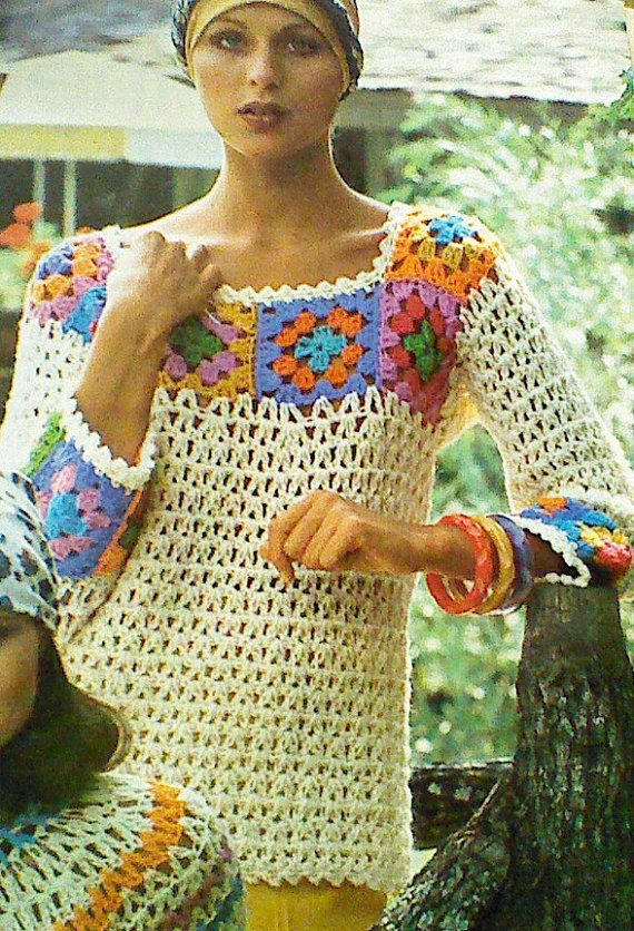 3 ThreeVintage Crocheted Women Granny Top by MAMASPATTERNS on Etsy ...