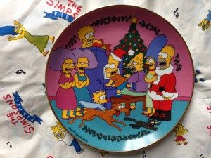 Franklin Mint plate Caroling with The Simpsons
