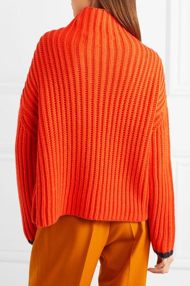 Victoria, Victoria Beckham - Ribbed Wool-blend Turtleneck Sweater ...