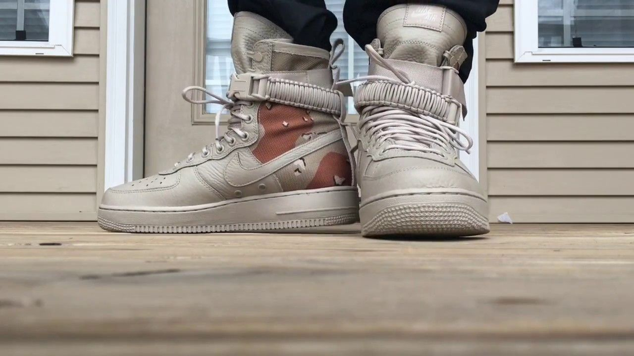 09f8aa886ac1 NIKE SF AIR FORCE 1 DESERT CAMO ON FOOT LOOK!!!