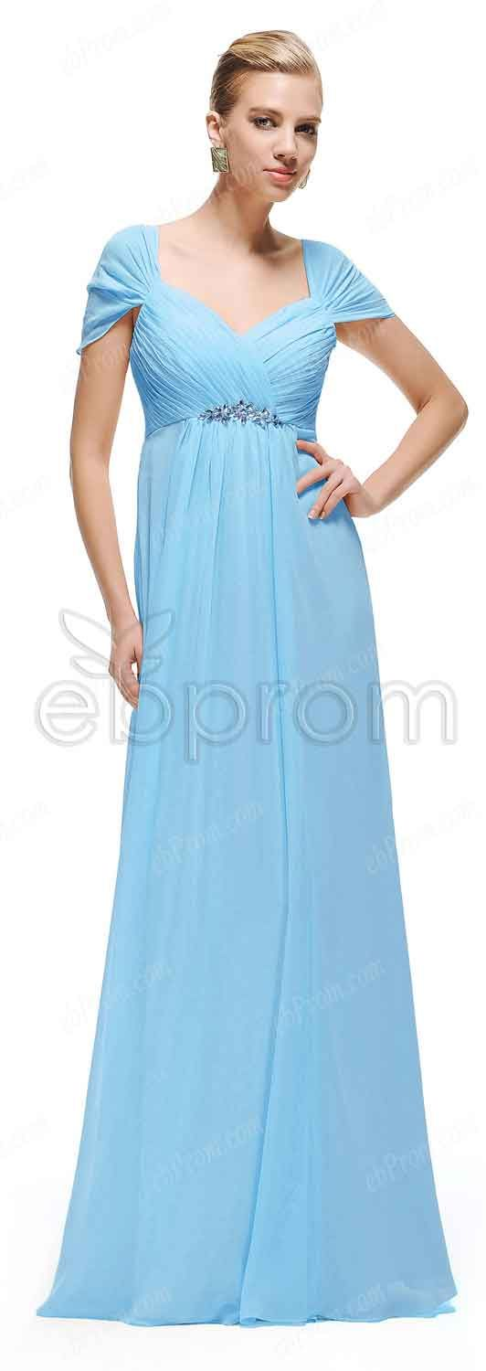 Sky blue maternity bridesmaid dresses capped sleeves | Pinterest ...