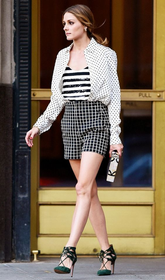 @roressclothes closet ideas #women fashion outfit #clothing style apparel white shirtm shorts Stylish Outfit with Green Cage Heels