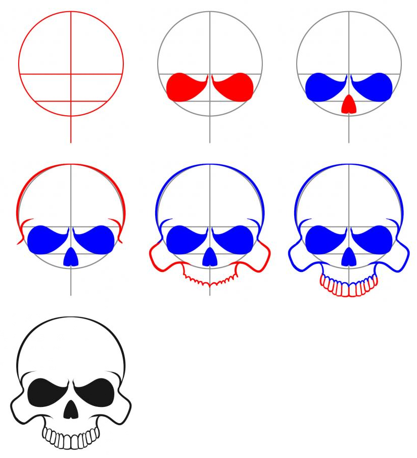 How to Draw An Easy Skull Skulls drawing