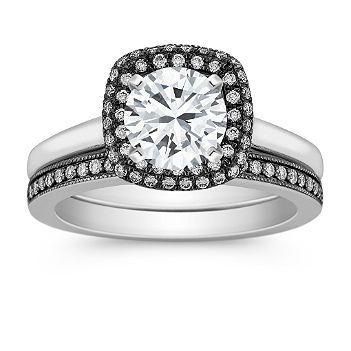 Halo Diamond Wedding Set With Black Rhodium And Pave Setting