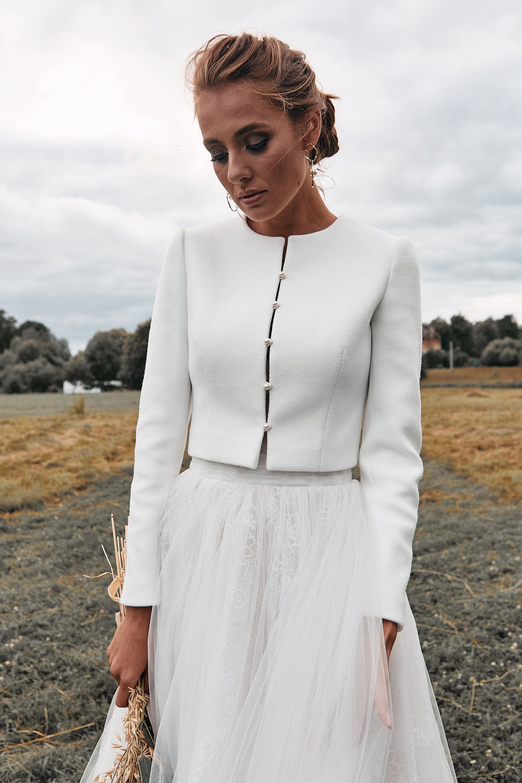 Bridal coat, Wedding cashmere jacket, Ecru jacket for bride