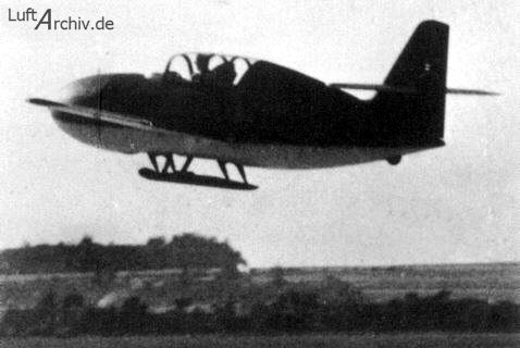 Messerschmitt Me 328 Prototype fighter.  The tiny fighter was to have been propelled by pulsejets, but the unsuitability of these engines doomed the Me 328 from the start.  Three versions were proposed: an unpowered glider, a version powered by Argus pulsejets, and a version powered by a Jumo 004 turbojet.