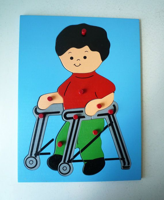 Vintage Wooden Childs Puzzle Boy In Walker By Shantyirishvintage