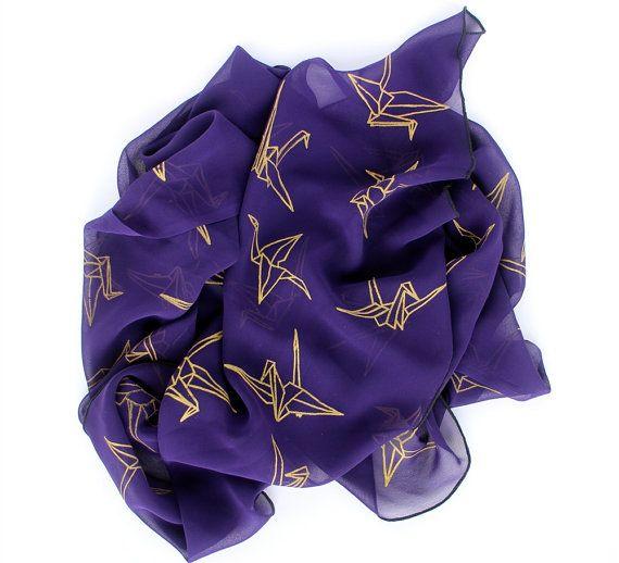 PURPLE SCARF  Purple & Gold Origami Paper Cranes by TalentedApple, £27.00
