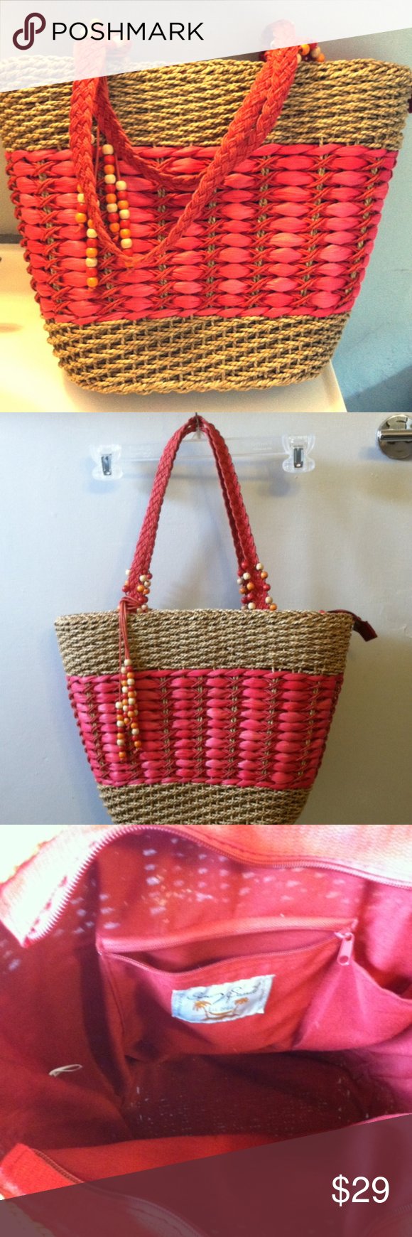SUN 'N' SAND Natural & Red Straw Shoulder Tote Bag SUN 'N' SAND Natural & Red Straw Shoulder or Tote Bag Woven red handles with wooden beads  Zips closed 1 interior zip pocket, 1 open 12  H 16W (widest point) 6 Deep Strap drop 9 1/2 Sun n Sand Bags #woodentotebag