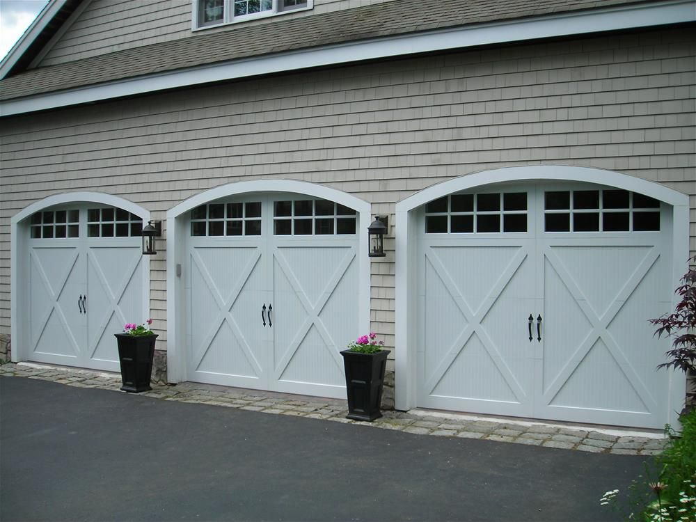 @C.H.I. Overhead Doors Model 5534 Fiberglass Carriage House Style Garage  Doors With Overlay, Stockton