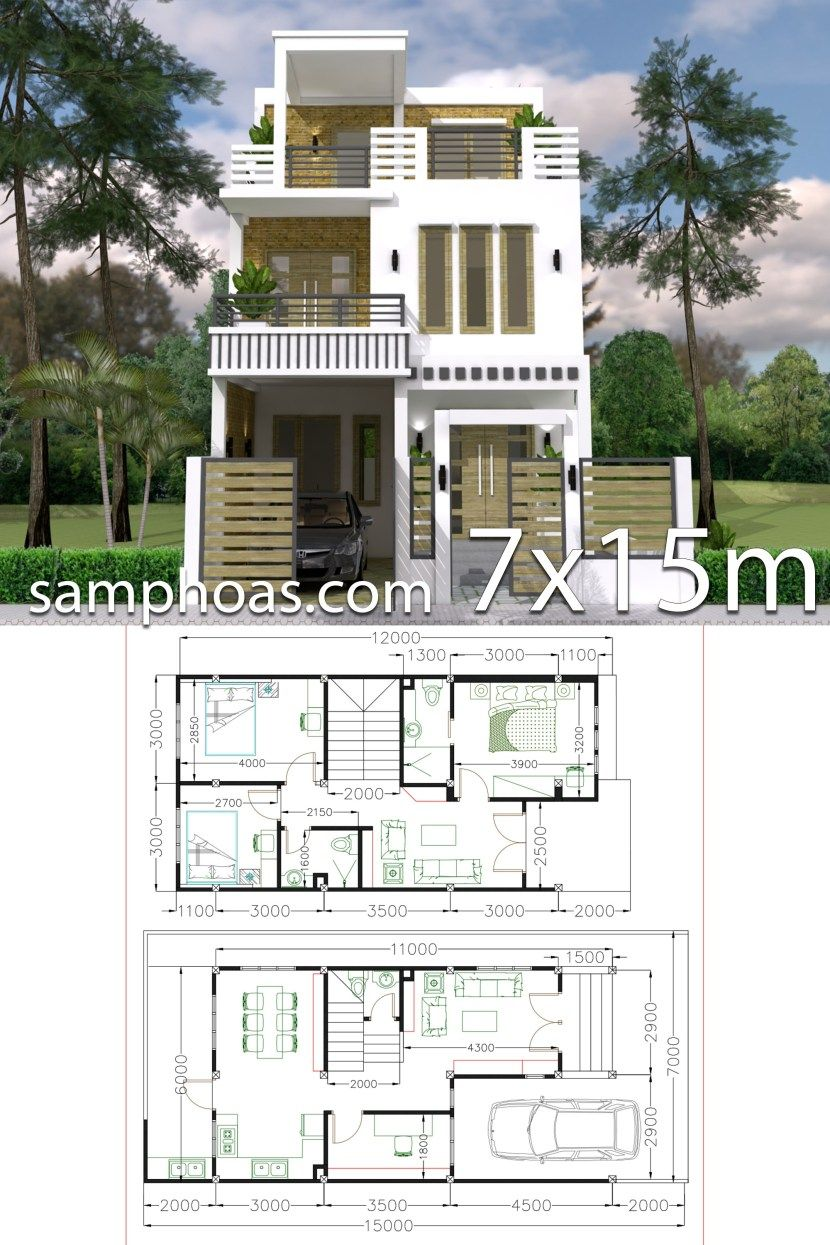 7x15m Simple Home Design Plan With 3 Bedrooms Samphoas Plan Simple House Design House Arch Design Home Design Plan