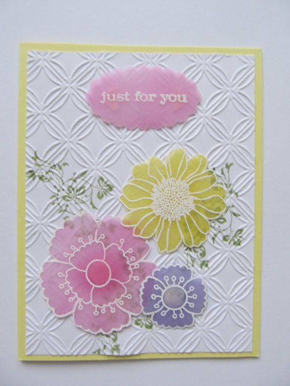 Just for You Lovely blue pink and yellow by stampingcardgirl, $3.50
