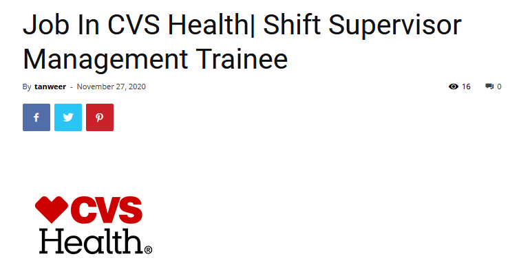 Job In Cvs Health Shift Supervisor Management Trainee In 2021 Management Cvs Job