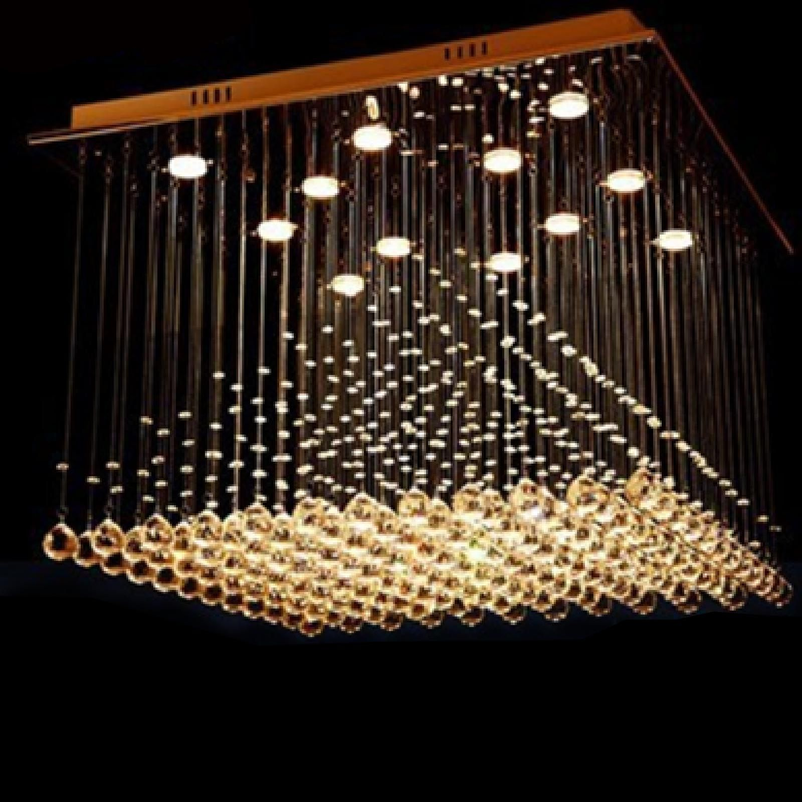 Byb Modern Chandelier Rain Drop Pyramid Chandeliers Lighting H80 W80