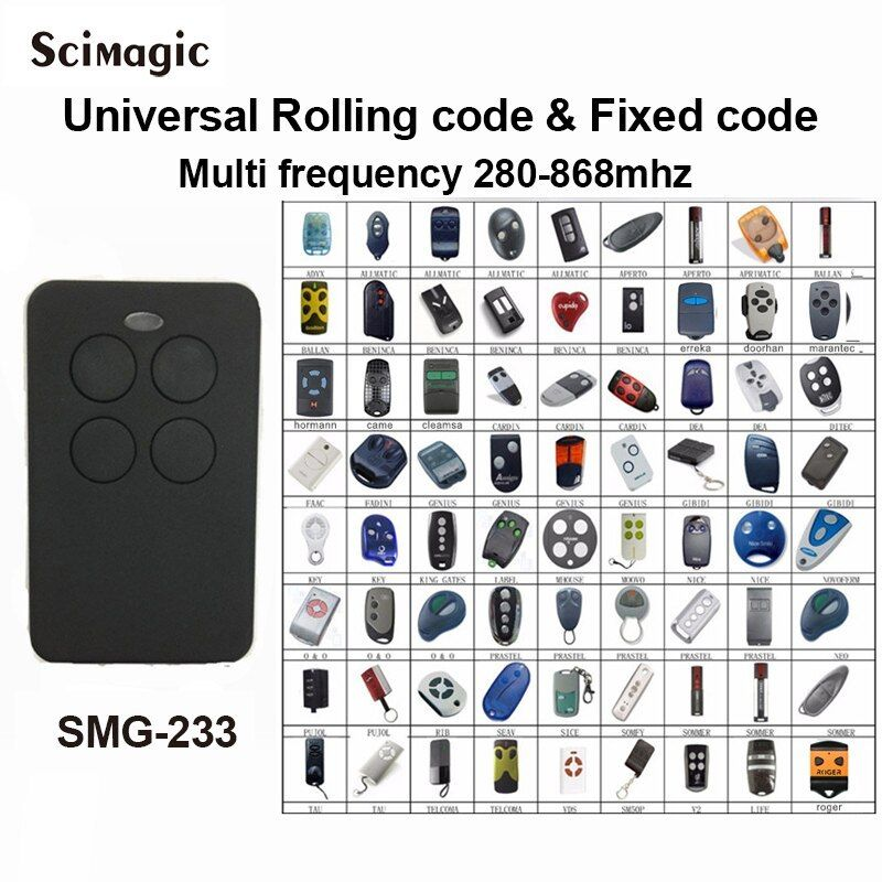 1pcs Auto Scan 280mhz 868mhz Multi Frequency Brand Rolling Code Remote Control Du Remote Control Gate Garage Door Remote Control Universal Garage Door Remote