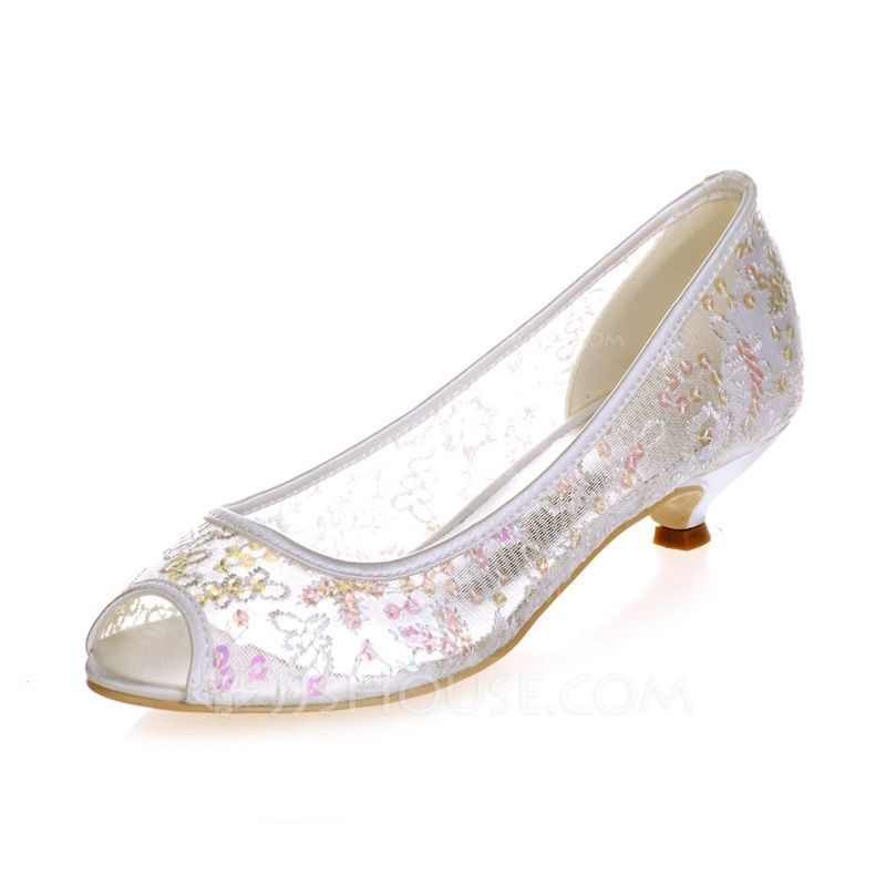 Women's Peep Toe Sandals Kitten Heel Lace Sequin Wedding