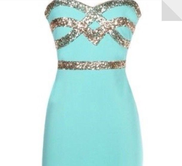 teal party dress | dress tiffany blue, teal, gold, sparkles, party ...