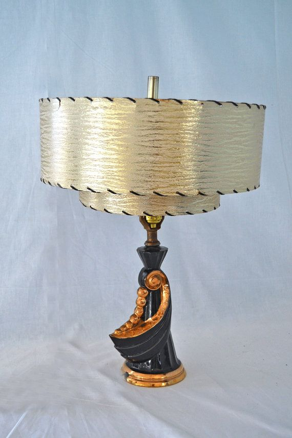 Vintage 1950s Small Black Amp Gold Lamp With Two Tiered